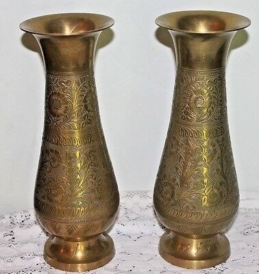 Pair of Large Fancy Brass Vases 11 3/4 Inches tall