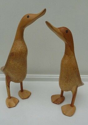 2 HAND CARVED DCUK DUCKS BY WOODSTOCK ENVIRONMENT wood