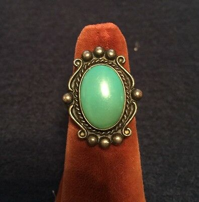 Vintage Bell Trading Post sterling silver Navajo turquoise ring 7.25 size