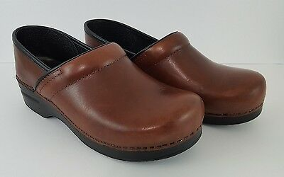 Dansko Professional Brown Leather Slip-On Clogs Shoes Size 41 W10.5/11 M7.5/8