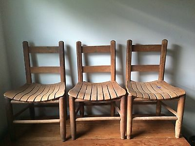 Antique Small Child's Kid's Solid Wood School Student Chair w/ Slatted Seats