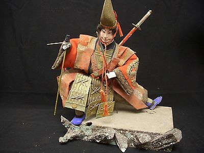 Hard to Find Antique Japanese Samurai Doll -Gofun, Wood, Papier Mache  - 1890s