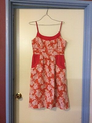 Cotton Pink Patterned Dress With Pockets, Size 8/10