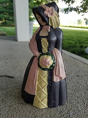 VINTAGE ANTIQUE Hand Painted CAST IRON  VICTORIAN LADY DOORSTOP or Bank