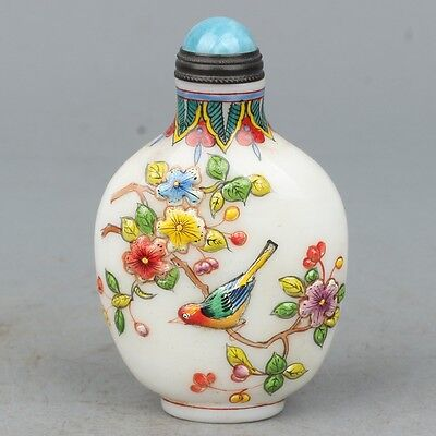 Chinese Exquisite Hand Painted Flowers and birds pattern Glass snuff bottle