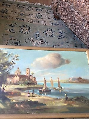 Vintage Oil On Canvas Painting  Unknown Artist Signed