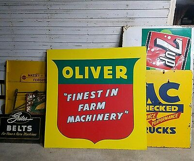 Double sided Oliver machinery sign Barn gas oil seed feed plow original