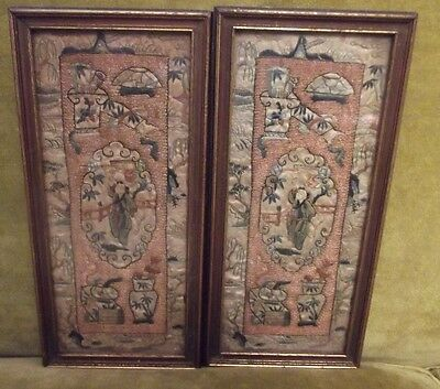 "19C Vintage Chinese Silk Embroidery Textile Panel Tapestry Pair 4 5/8"" X 10"""
