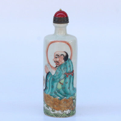 Chinese Exquisite Hand Painted Buddha Lohan pattern Porcelain snuff bottle