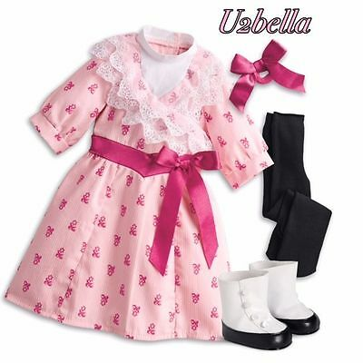 American Girl Samantha's Flower-Picking Outfit DRESS, BOOTS ,BOW Beforever NEW