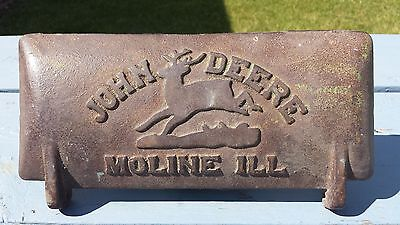 Antique Vintage John Deere Cast Iron Machinery Tool Box Lid Cover