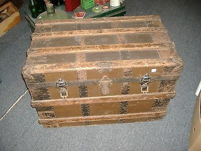 Wood Metal Steamer Trunk Vintage Antique Farmhouse Chic Coffee Table Slatted Sma