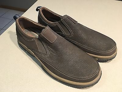 CLARKS Men's Brown Leather Slip On Loafers Size 12M