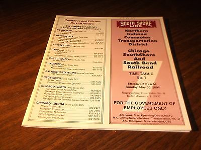 May 2004 Css&sb South Shore Railroad Nictd Employee Timetable #7