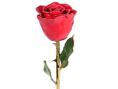 Real 11in. 24k Gold Stem Red Rose (Free Anniversary Gift Box)