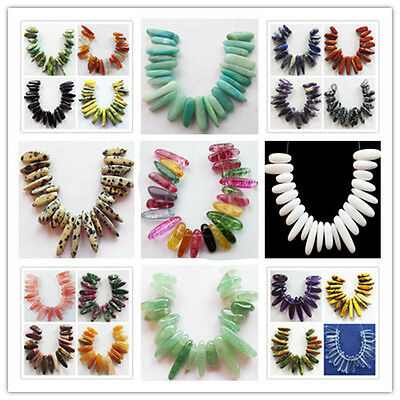 21Pcs Mixed Natural Gemstone Pendant Bead set 23x9x8mm-13x7x6mm