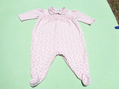 Ralph lauren baby girls footed romper with smocking size 6 months euc