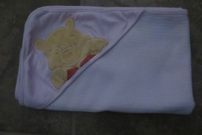 Disney Winnie The Pooh Baby Girls Large Pink Hooded Knit Blanket Size 30X40 Euc