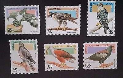 1995- R.A.S.D. SAHARA OCC Set of 6 X Birds of Prey Stamp MUH