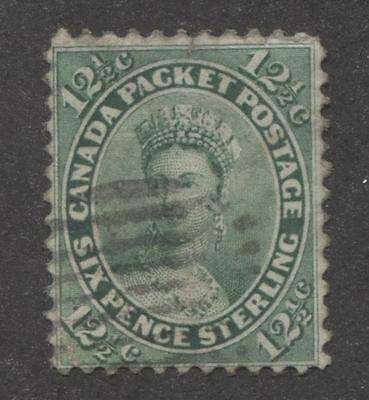 Canada #18ii 12.5c Green Queen Victoria 1859-65 Cents Issue - G-48 Used