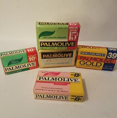 Vintage Soap Bar Lot Mid Century 5 Different Palmolive Bars 1960-1980