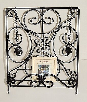 Longaberger Foundry Wrought Iron Cookbook Holder Book Stand with Book Rack EUC