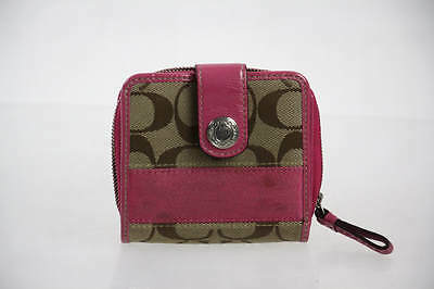 Coach Brown Jacquard Signature Pink Patent Leather Trim Continental Wallet