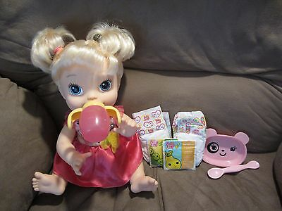 """Baby Alive Habro 2013 """"My Baby All Gone"""" blonde doll with accessories"""