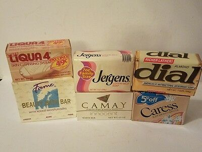 Vintage Soap Bar Lot Mid Century Bath Rare Fame Dial Caress Camay Jergens