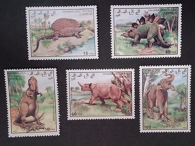 1992- SAHARA OCC R.A.S.D. Set of 5 X Prehistoric Animal Stamps MUH