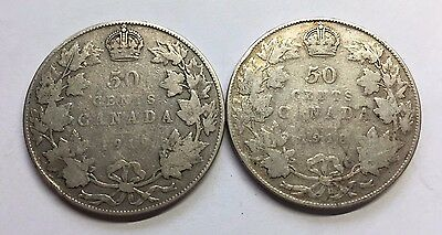 Lot of Two 1918 & 1919 Sterling Silver 50 Cent Pieces Half Dollar Coins Canada