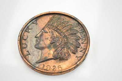 Vintage 1926 Indian Head Lucky Penny Paperweight Souvenir From Joplin Missouri