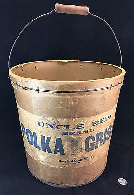 Handled Bucket 1917 Rockford IL Candy POLKA GRISAR Cane Uncle Ben Brand Store