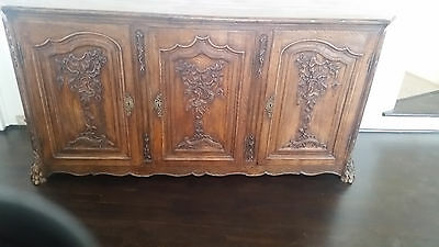 Antique 18th c' French Buffet with Carved Doors. Solid French Oak