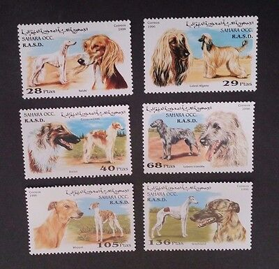 1996- SAHARA OCC R.A.S.D. Set of 6 X Dog Stamps MUH
