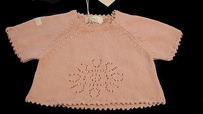 Moi Bebe Clayeux Pink Baby Girl Short Sleeve Knit Sweater 6mths