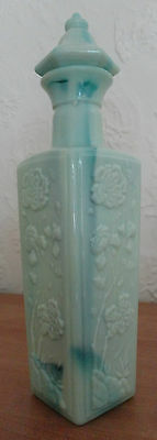 1972 Jim Beam Liquor Bottle Decanter Pagoda Slag Glass Green Jadite Milk Glass