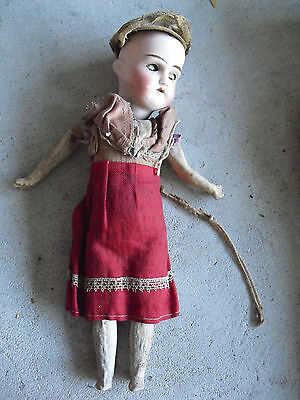 "Antique 12/0 German Bisque Composition Girl Doll 11"" Tall"
