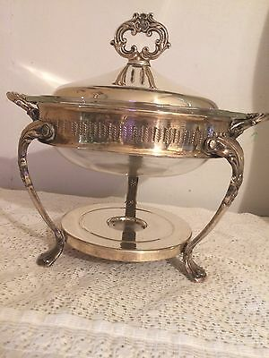 Vintage Silver Plated Chafing Serving Warming Dish with Pyrex Glass Insert