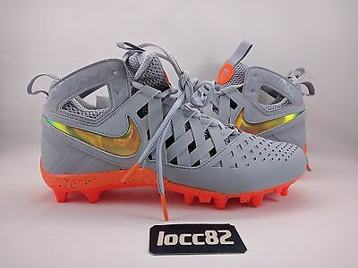 Nike Huarache 5 Lax Lacrosse Football Cleats sz 9.5 (857036-080) Grey Orange