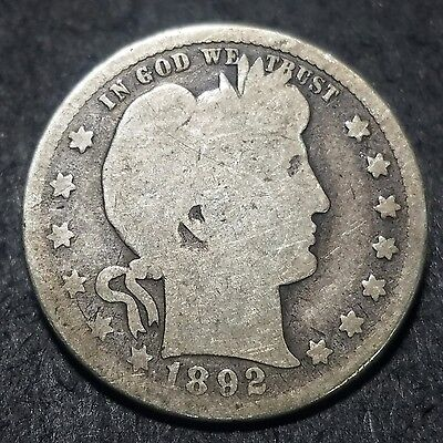 1892-S 25 Cent Barber Quarter Better Date