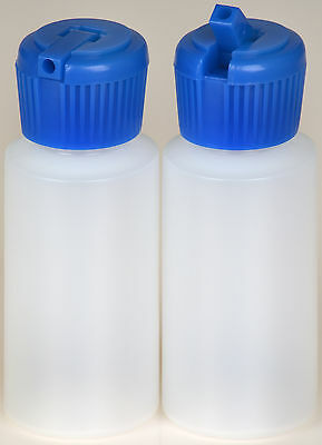 Plastic Bottle w/Blue Turret Lid, 1-oz., (HDPE), 100-Pack, New