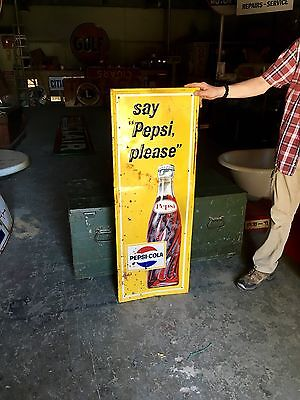 Original 1960's Pepsi Cola Embossed Soda Pop Advertising Sign Gas Oil!