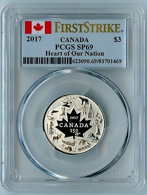 2017 Canada Pcgs First Strike Sp69 Silver Heart Of Our Nation S$3!