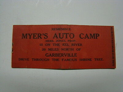 "Myer's Auto Camp Garberville Matchbook Cover ""Drive Thru Shrine Tree"" 1930's"