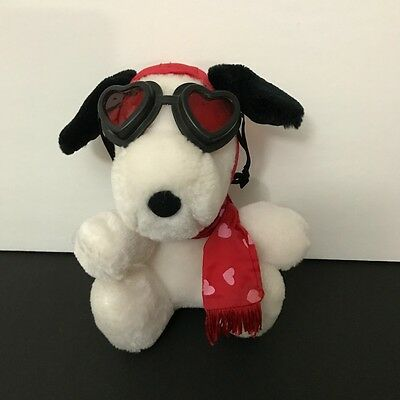 """Vintage Peanuts Snoopy Flying Ace Pilot Red Baron Heart Glasses Scarf Plush 6.5"""""""
