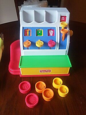 Fisher Price FP 1994 Cash Register complete with 6 coins vintage