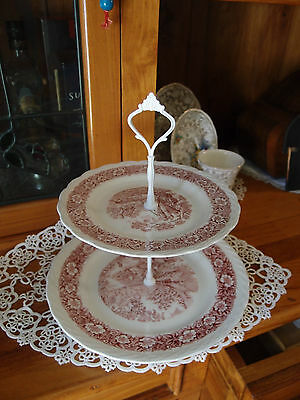 Vintage Grindley Countryside Cake biscuit high tea stand 2 tier