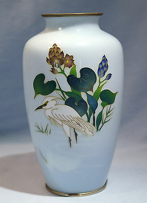 Japanese Inaba Cloisonne Vase Crane Motif Painted & Wire Circa 1920s
