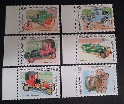 1998- REPUBLICA SAHARAUI Set of 6 x Vintage Cars MUH